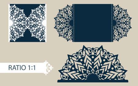 Layout felicitatie envelop met gesneden opengewerkte patroon. Sjabloon is geschikt voor bruiloft wenskaarten, uitnodigingen, enz. Foto is geschikt voor lasersnijden, plotter snijden of afdrukken. Vector Stock Illustratie