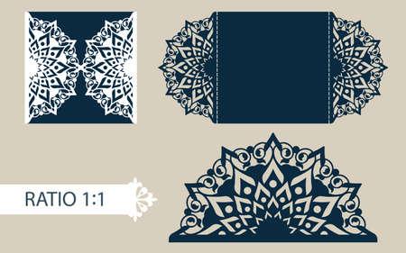 レイアウト祝賀封筒彫刻透かし彫りのパターン。テンプレートは結婚式グリーティング カード、招待状などに最適です。レーザー切断、切断または印刷プロッターに適した画像します。ベクトル