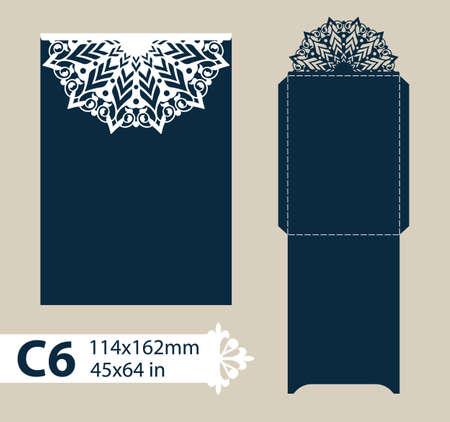 corte laser: dotación de felicitación con el patrón de diseño calado tallado. Plantilla es adecuada para tarjetas de felicitación de boda, invitaciones, etc. imagen adecuado para el corte por láser, plotter de corte o la impresión. Vector