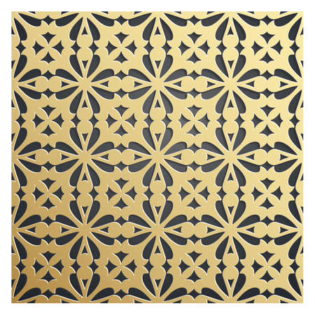 Golden on dark backdrop seamless geometric pattern. Tiled background with Oriental motif 3D. Endless texture can be used for wallpaper, pattern fills, background of web page, surface textures