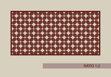 grecas: ornamento geométrico. El patrón de plantilla para el panel decorativo. Una imagen adecuada para la impresión, el grabado, el papel del corte por láser, la madera, el metal, la fabricación de la plantilla. Vector. Fácil de editar