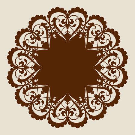 De template mandalapatroon voor decoratieve rozet. Een beeld geschikt voor het printen, graveren, laser snijden van papier, hout, metaal, stencil productie. Vector. Gemakkelijk te bewerken