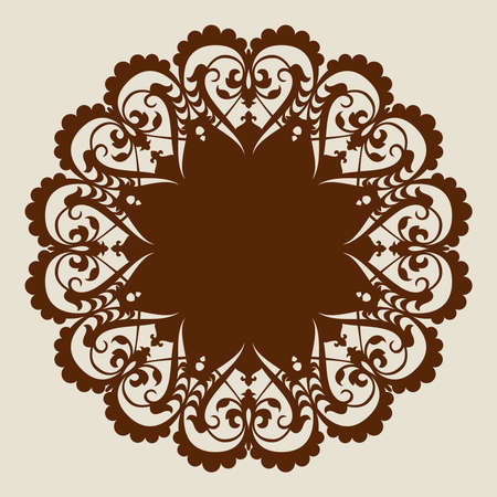metal cutting: The template mandala pattern for decorative rosette. A picture suitable for printing, engraving, laser cutting paper, wood, metal, stencil manufacturing. Vector. Easy to edit