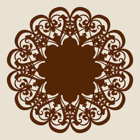 Le motif modèle de mandala pour rosette décorative. Une image appropriée pour l'impression, la gravure, le papier de découpe laser, bois, métal, fabrication de pochoir. Vecteur. Facile à modifier