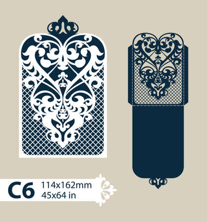 die cut: Layout congratulatory envelope with carved openwork pattern. Template is suitable for greeting cards, invitations, etc. Picture suitable for laser cutting, plotter cutting or printing. Vector