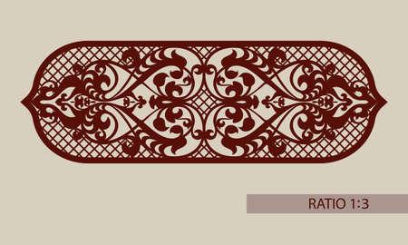Bloemen ornament. Vintage-stijl. De template patroon voor decoratieve paneel. Een beeld geschikt voor het printen, graveren, laser snijden van papier, hout, metaal, stencil productie. Vector Stock Illustratie
