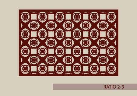 corte laser: ornamento geométrico. El patrón de plantilla para el panel decorativo. Una imagen adecuada para la impresión, el grabado, el papel del corte por láser, la madera, el metal, la fabricación de la plantilla. Vector