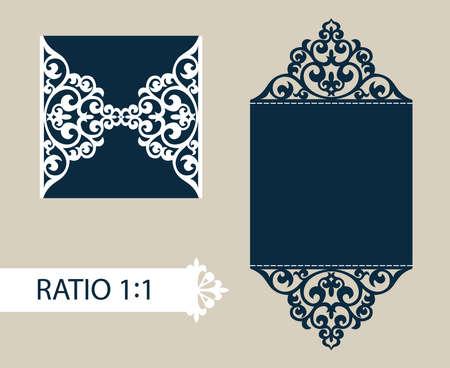 De indeling van de kaarten in drie toevoegingen. De template is geschikt voor wenskaarten, uitnodigingen, menu's, enz. Het beeld geschikt voor lasersnijden of afdrukken. Vector