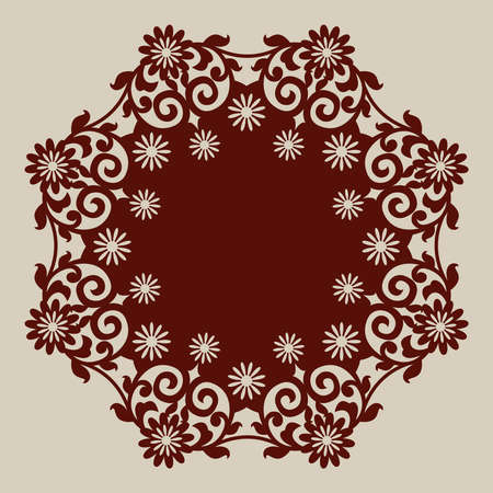 laser cutting: El patr�n de plantilla mandala de roseta decorativa. Una imagen adecuada para la impresi�n, el grabado, el papel del corte por l�ser, la madera, el metal, la fabricaci�n de la plantilla. Vector
