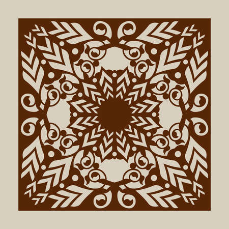 paper cutting: Geometric ornament. The template pattern for decorative panel. A picture suitable for laser cutting, paper cutting, printing, engraving wood, metal, stencil manufacturing.