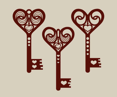 Collection of templates of decorative keys for laser cutting, paper cutting, stencil making. The image is suitable for interior design, props, wedding, Valentines day, individual creativity Ilustrace