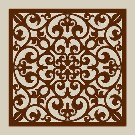 metal cutting: Geometric ornament. The template pattern for decorative panel. A picture suitable for laser cutting, paper cutting, printing, engraving wood, metal, stencil manufacturing.