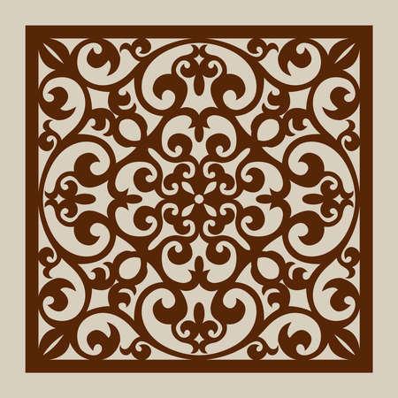 corte laser: ornamento geométrico. El patrón de plantilla para el panel decorativo. Una imagen adecuada para el corte por láser, corte de papel, impresión, grabado en madera, metales, fabricación de la plantilla.