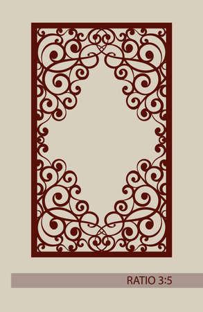laser cutting: ornamento geom�trico. El patr�n de plantilla para el panel decorativo. Una imagen adecuada para el corte por l�ser, corte de papel, impresi�n, grabado en madera, metales, fabricaci�n de la plantilla.