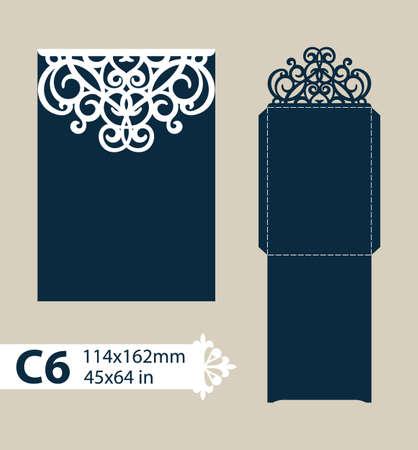 corte laser: dotación de felicitación con el patrón de diseño calado tallado. Plantilla es adecuada para tarjetas de felicitación, invitaciones, etc. imagen adecuado para el corte por láser, plotter de corte o la impresión. Vectores