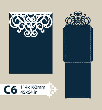plotter: Layout congratulatory envelope with carved openwork pattern. Template is suitable for greeting cards, invitations, etc. Picture suitable for laser cutting, plotter cutting or printing. Illustration