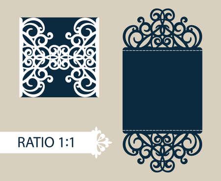 corte laser: La disposición de las tarjetas en tres adiciones. La plantilla es adecuada para tarjetas de felicitación, invitaciones, menús, etc. la imagen adecuada para el corte por láser o impresión.
