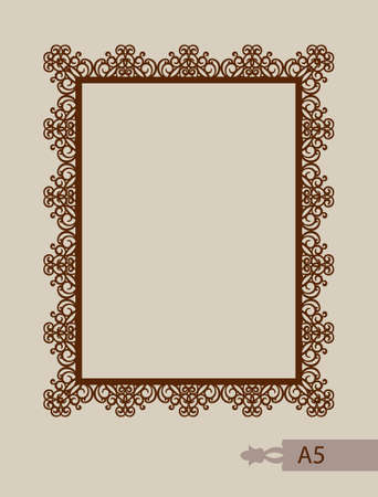 Abstract square photo frame with swirls. Pattern is suitable for greeting cards, invitations, menus, design interiors etc. Template suitable for laser cutting or printing.