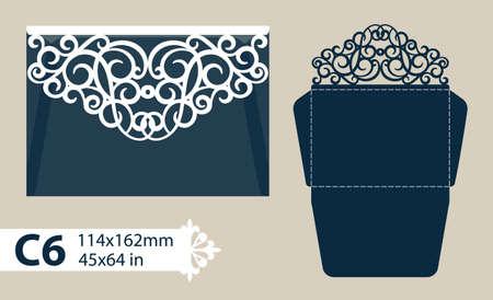 Layout felicitatie envelop met gesneden opengewerkte patroon. Sjabloon is geschikt voor wenskaarten, uitnodigingen, enz. Foto is geschikt voor lasersnijden, plotter snijden of afdrukken.