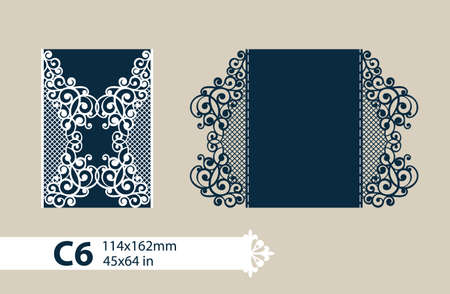The layout of the cards in three additions. The template for greeting cards, invitations, menus, etc. The picture suitable for laser cutting, paper cutting or printing. Vector