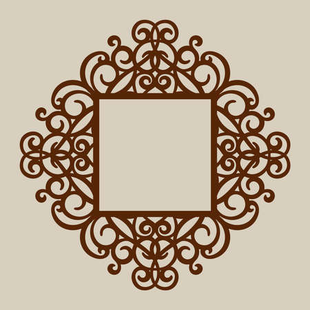 metal cutting: Geometric ornament. The template pattern for decorative panel. A picture suitable for paper cutting, printing, laser cutting or engraving wood, metal. Stencil manufacturing. Vector