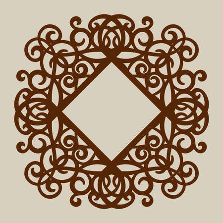 wood carving: Geometric ornament. The template pattern for decorative panel. A picture suitable for paper cutting, printing, laser cutting or engraving wood, metal. Stencil manufacturing. Vector