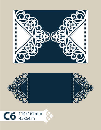 paper cutting: Layout congratulatory cards in three additions. The template for greetings, invitations, menus, etc. The picture suitable for laser cutting, paper cutting or printing. Vector Illustration