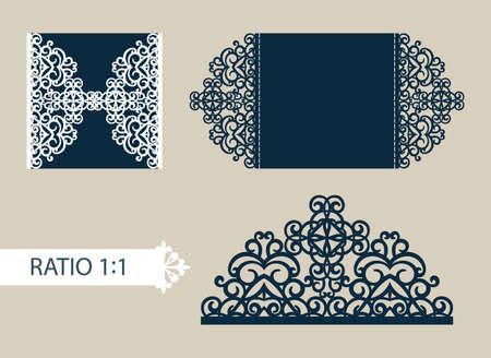 corte laser: tarjetas de felicitación de diseño en tres adiciones. La plantilla para saludos, invitaciones, menús, etc. La imagen adecuado para el corte por láser, corte de papel o la impresión. Vector Vectores