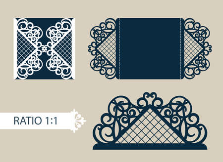 Layout congratulatory cards in three additions. The template for greetings, invitations, menus, etc. The picture suitable for laser cutting, paper cutting or printing. Vector Illustration