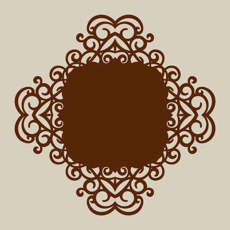 corte laser: ornamento geométrico. El patrón de plantilla para el panel decorativo. Una imagen adecuada para el corte de papel, impresión, corte por láser o grabado en madera, metal. la fabricación de la plantilla. Vector Vectores
