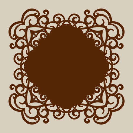 paper cutting: Geometric ornament. The template pattern for decorative panel. A picture suitable for paper cutting, printing, laser cutting or engraving wood, metal. Stencil manufacturing. Vector