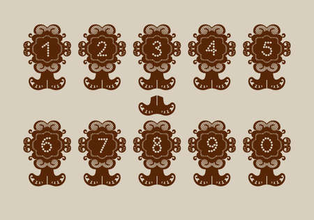 Decorative desk stand with numbering. A picture suitable for paper cutting, printing, laser cutting or engraving. Stencil manufacturing. Vector Illustration