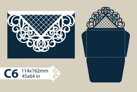 plotter: Layout congratulatory envelope with carved openwork pattern. The template for greetings, invitations, etc. Picture suitable for laser cutting, plotter cutting or printing. Vector