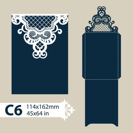 paperboard: Layout congratulatory envelope with carved openwork pattern. The template for greetings, invitations, etc. Picture suitable for laser cutting, plotter cutting or printing. Vector