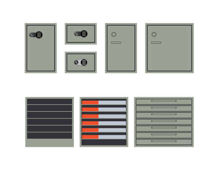 safes: Safes and cabinets for storage of money and documents isolated on white background. Flat style. Vector