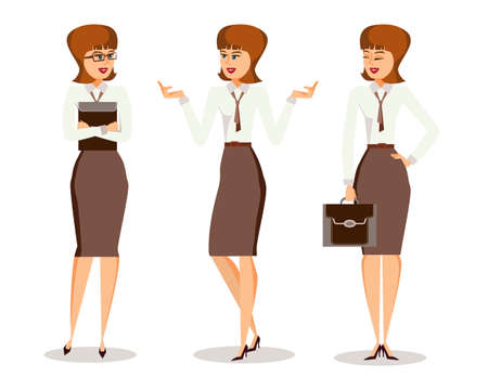 Three successful young business woman in formal clothes in different poses making gestures. Isolated on white background. Cartoon style. Vector illustration
