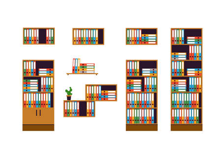 ledger: Set of office furniture. Cabinets and shelves for storage of documents isolated on white background. Colorful folders are in order. Flat style. Vector Illustration