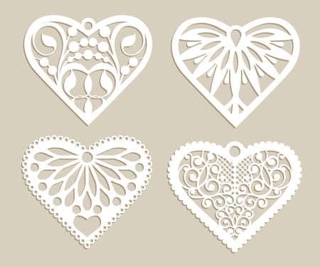 Set stencil kanten harten met gesneden opengewerkte patroon. Sjabloon voor interieur, layouts bruiloft kaarten, uitnodigingen, enz. Afbeelding geschikt voor lasersnijden, plotter snijden of afdrukken. Vector Stock Illustratie