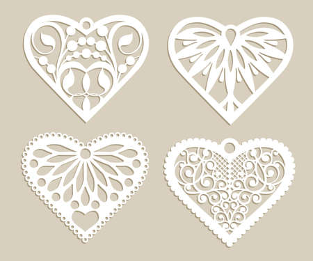 laser cutting: Set stencil lacy hearts with carved openwork pattern. Template for interior design, layouts wedding cards, invitations, etc. Image suitable for laser cutting, plotter cutting or printing. Vector