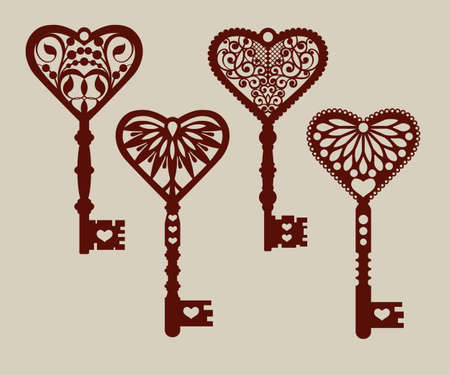 Collection of templates of decorative keys for laser cutting, paper cutting, stencil making. The image is suitable for interior design, props, wedding, Valentines day, individual creativity Illustration