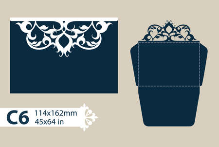 cut paper: Layout congratulatory envelope with carved openwork pattern. The template for greetings, invitations, etc. Picture suitable for laser cutting, plotter cutting or printing. Vector
