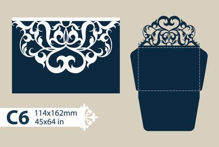 Layout felicitatie envelop met gesneden opengewerkte patroon. Het sjabloon voor groeten, uitnodigingen, enz. Foto is geschikt voor lasersnijden, plotter snijden of afdrukken. Vector