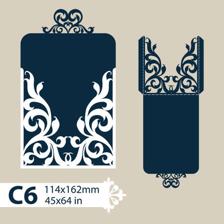 laser cutting: Layout congratulatory envelope with carved openwork pattern. The template for greetings, invitations, etc. Picture suitable for laser cutting, plotter cutting or printing. Vector
