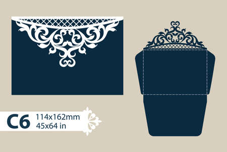 Layout congratulatory envelope with carved openwork pattern. The template for greetings, invitations, etc. Picture suitable for laser cutting, plotter cutting or printing.