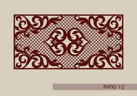 laser cutting: adornos florales. El patr�n de plantilla para el panel decorativo. Una imagen adecuada para el corte de papel, impresi�n, corte por l�ser o grabado en madera, metal. la fabricaci�n de la plantilla.