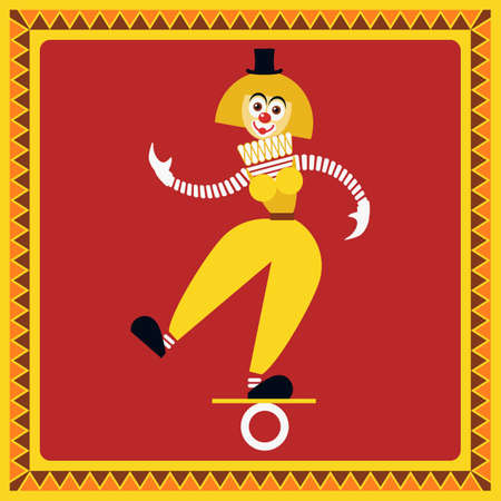Funny female clown teetering on the coil. The equilibrist balances.