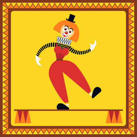 Funny female clown teetering on two pillars. The equilibrist balances. Illustration