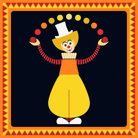 juggler: Funny clown. Juggler balls. Illustration
