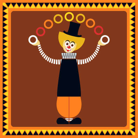 nose ring: Funny clown. Juggler rings. Illustration