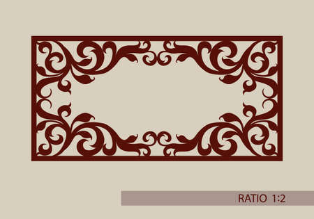 metal pattern: Floral ornament. The template pattern for decorative panel. A picture suitable for paper cutting, printing, laser cutting or engraving wood, metal. Stencil manufacturing.